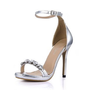 Patent Leather Stiletto Heel With Rhinestone Buckle shoes