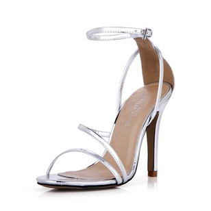 Leatherette Stiletto Heel Sandals Pumps Peep Toe Slingbacks With Buckle shoes