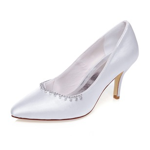 Women's Satin Closed Toe Pumps With Rhinestone