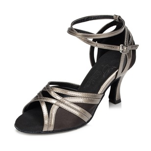 Women's Satin Sparkling Glitter Heels Sandals Modern With Ankle Strap Dance Shoes