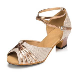 Women's Leatherette Sparkling Glitter Heels Sandals Latin Tango With Ankle Strap Dance Shoes