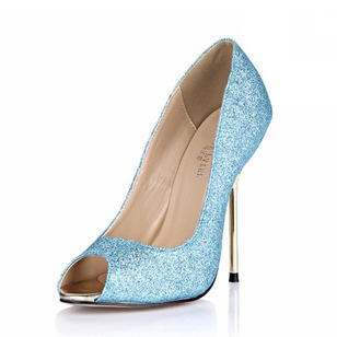 Sparkling Glitter Stiletto Heel Sandals Pumps Peep Toe shoes