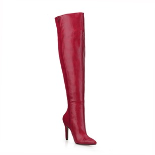Suede PU Stiletto Heel Over The Knee Boots With Zipper shoes