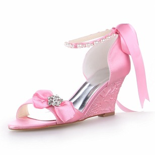 Women's Satin Wedge Heel Peep Toe With Bowknot Imitation Pearl Rhinestone