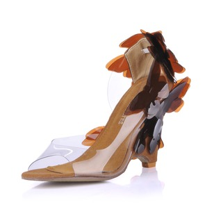 PVC Wedge Heel Sandals Peep Toe With Flower shoes