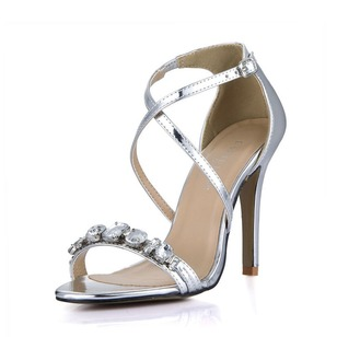 Patent Leather Stiletto Heel Sandals Peep Toe With Rhinestone Buckle shoes