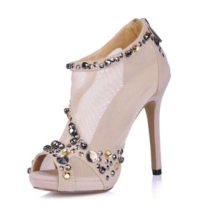 Suede Stiletto Heel Platform Peep Toe Ankle Boots With Beading shoes (0855102326)