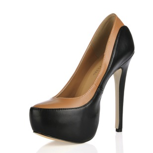 Leatherette Stiletto Heel Pumps Platform Peep Toe shoes (0855102552)
