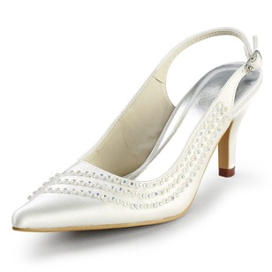 Women's Satin Stiletto Heel Closed Toe Slingbacks With Rhinestone