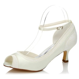 Kvinnor Satäng Net Yarn Stilettklack Peep Toe Pumps med Spänne Stitching Lace (0475119228)