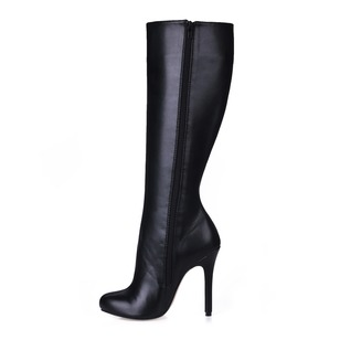 Leatherette Stiletto Heel Closed Toe Knee High Boots shoes