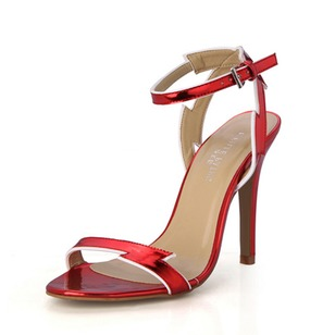 Leatherette Stiletto Heel Sandals Pumps Peep Toe With Buckle shoes