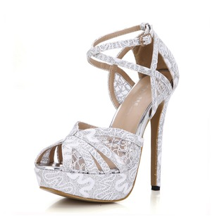 Women's Leatherette Stiletto Heel Peep Toe Platform Sandals With Buckle
