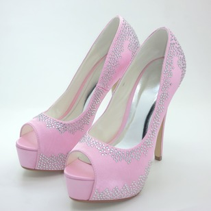 Women's Satin Stiletto Heel Peep Toe Platform Pumps With Beading