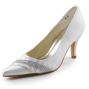 Women's Satin Kitten Heel Closed Toe Pumps With Crystal
