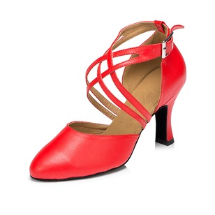 Women's Leatherette Heels Pumps Latin With Ankle Strap Dance Shoes