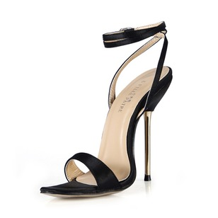 Satin Stiletto Heel Sandals Slingbacks With Buckle shoes