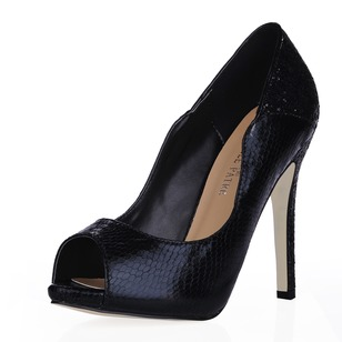 Leatherette Sparkling Glitter Pumps Platform Peep Toe With Animal Print shoes