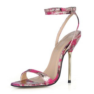 Leatherette Stiletto Heel Sandals Slingbacks With Buckle shoes (0875100493)