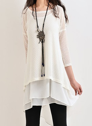 Chiffon Cotton Polyester Solid 3/4 Sleeves Above Knee Casual Dresses