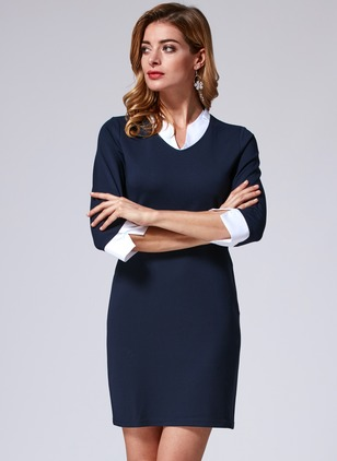 Polyester Color Block 3/4 Sleeves Above Knee Elegant Dresses