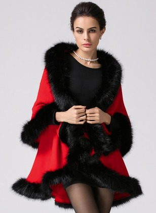 Shearling & Faux Shearling Red Long Long Sleeve Lapel Coats & Jackets