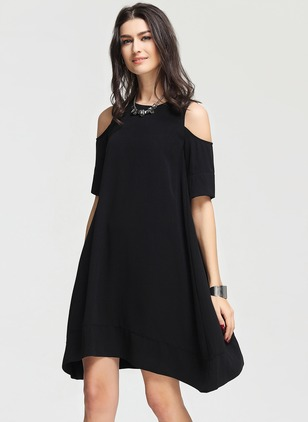 Polyester Solid Short Sleeve High Low Casual Dresses
