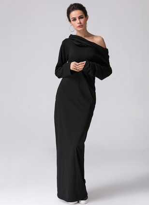 Cotton Polyester Solid Long Sleeve Maxi Casual Dresses