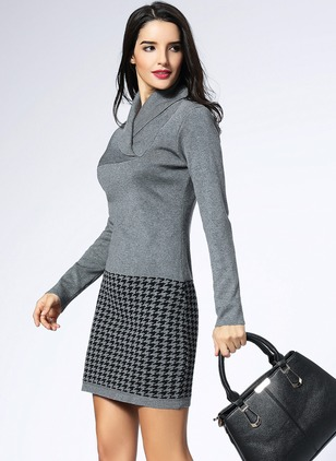 Polyester Tartan Long Sleeve Above Knee Casual Dresses