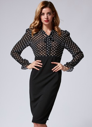 Polyester Polka Dot Long Sleeve Knee-Length Elegant Dresses