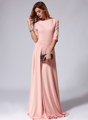 Cotton Blends Solid Half Sleeve Maxi Elegant Dresses