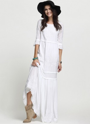 Cotton Solid 3/4 Sleeves Maxi Casual Dresses