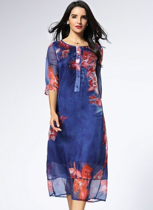 Silk Floral 3/4 Sleeves Mid-Calf Vintage Dresses