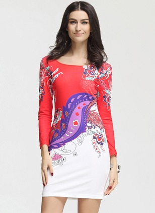 Polyester Floral Long Sleeve Above Knee Casual Dresses
