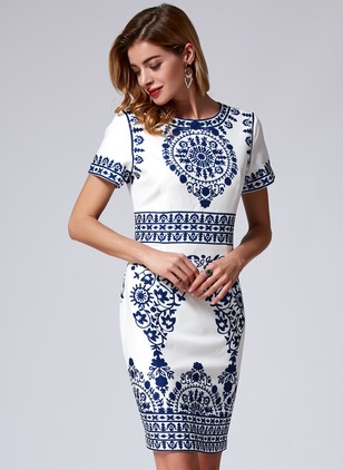 Polyester Floral Short Sleeve Above Knee Casual Dresses