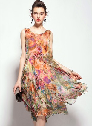 Silk Floral Sleeveless Knee-Length Vintage Dresses