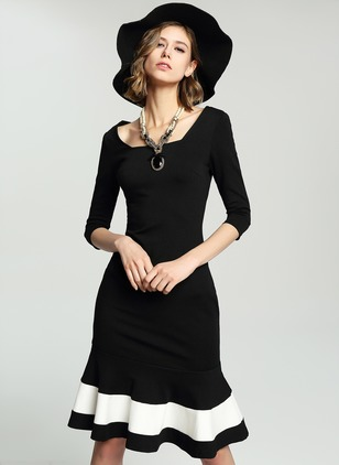 Polyester Solid 3/4 Sleeves Mid-Calf Elegant Dresses