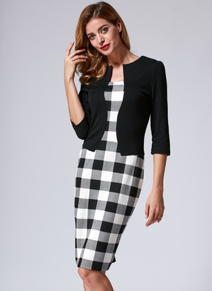 Cotton Check 3/4 Sleeves Knee-Length Elegant Dresses