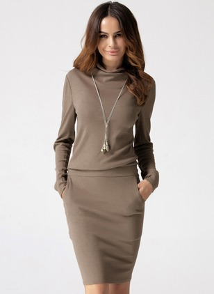 Polyester Solid Long Sleeve Above Knee Casual Dresses