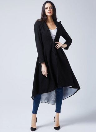 Black Long Long Sleeve Lapel Trench Coats Coats & Jackets