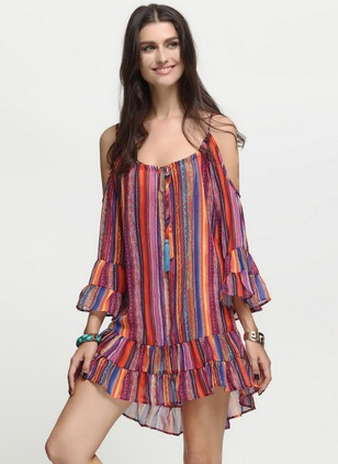 Chiffon Stripe 3/4 Sleeves Mini Casual Dresses