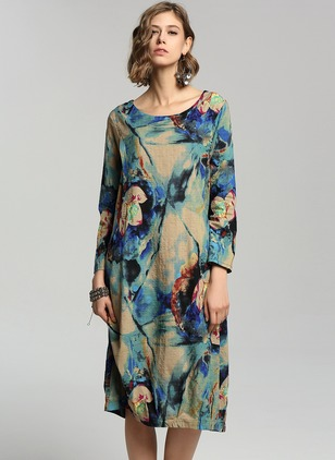 Cotton Floral Long Sleeve Mid-Calf Vintage Dresses