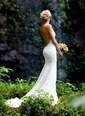 Trumpet/Mermaid V-neck Court Train Lace Wedding Dress (0025107318)