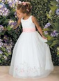 A-Line/Princess Scoop Neck Floor-Length Organza Satin Flower Girl Dress With Embroidered Ruffle Sash (01005009213)