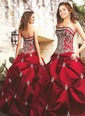 Ball-Gown Strapless Floor-Length Satin Quinceanera Dress With Embroidered Beading Sequins (02105024509)