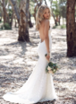 Trumpet/Mermaid V-neck Sweep Train Lace Wedding Dress (0025060351)