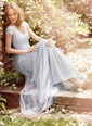 A-Line/Princess Scoop Neck Sweep Train Tulle Lace Bridesmaid Dress With Lace (0075119885)