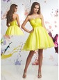 A-Line/Princess Sweetheart Short/Mini Taffeta Organza Homecoming Dress With Ruffle Beading (02205025433)