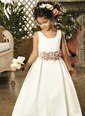 A-Line/Princess Scoop Neck Floor-Length Satin Flower Girl Dress With Sash (01005009047)