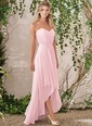 A-Line/Princess Strapless Sweetheart Asymmetrical Chiffon Bridesmaid Dress With Ruffle Lace (0075119420)